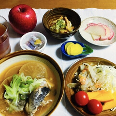 赤大根/我が家の夕食/さつま揚げ/ごぼうサラダ/煮魚/スタミナご飯/... 🍚我が家の夕食🥢 煮魚。 ごぼう・かぼち…