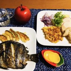 かぼちゃ天ぷら/シマ鯛/お正月2020/フォロー大歓迎 🍚我が家の夕食🥢 焼き魚(シマ鯛) かぼ…