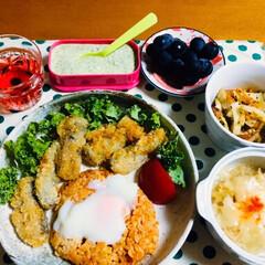タルタルソース/ケチャップライス/フードプロセッサー/ぶどう/ご飯/フォロー大歓迎/... 🍚我が家の夕食🥄 🍅入ケチャップライスに…