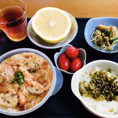 高菜漬け/我が家の夕食/細うどん/かき揚げ/おうちごはん/時短レシピ/... 🍚我が家の夕食🥢 冷やし細うどん…(エビ…