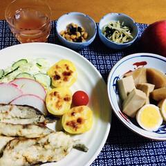 ミツカン/味ぽん 360ml | ミツカン(その他酢)を使ったクチコミ「🍚我が家の夕食🥢 イワシ天ぷら。 ポテト…」