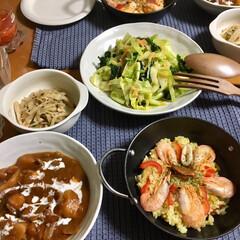 EBM 鉄ブルーテンパー パエリア鍋 28cm 8895300調理器具 調理道具 日本製(その他)を使ったクチコミ「🥘今日の夕食🥄 今日からまた寒くなってき…」