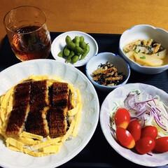 夏野菜/おうちごはん/簡単レシピ/LIMIAごはんクラブ/夏野菜deお料理/夏野菜で彩りおうちごはん/... 🍚我が家の夕食🥢 うなぎと卵の丼。 鮭ト…(1枚目)