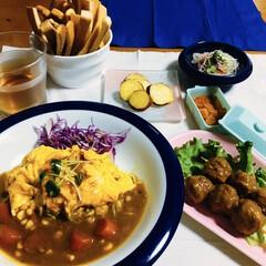 食器/オムカレー/肉団子/我が家の夕食/スティックパン/limiaキッチン同好会 🍛我が家の夕食🥄 オムカレー🍛 肉団子🧆…