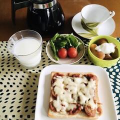 朝食/ピザトースト/100均/フォロー大歓迎 🍞我が家の朝ゴパン🍴 ピザトースト。 🍎…