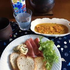レコルト/カプセルカッター ボンヌ/recolte(ジューサー、ミキサー、フードプロセッサー)を使ったクチコミ「🥖我が家の朝ゴパン🥖 バケット🥖 かぼち…」