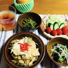 梨/ご飯/フォロー大歓迎/食欲の秋 🍚我が家の夕食🥢 野菜卵とじ丼🥚 もやし…