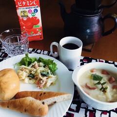 100均/ダイソー/DAISO/ダイソー商品/買ってよかった/白食器/... 🥖我が家の朝ごぱん☕️ バターロール・チ…(1枚目)