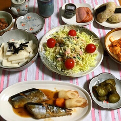 晩ご飯/キムチ/手作り/フォロー大歓迎/ごはん/おうちごはんクラブ/... 🍚今日の夕食🥢 サンマ甘辛煮。 手作りキ…