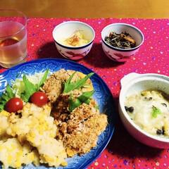 コロッケ/グラタン/我が家の夕食/コーン天ぷら/簡単/スタミナご飯 🍚我が家の夕食🥢 コーン天ぷら🌽 揚げな…
