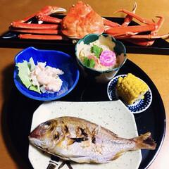 おせち二日目/寒波/氷柱/とうもろこし/蟹/茶碗蒸し/... 🎍我が家の夕食🥢 めで鯛(焼き真鯛) と…