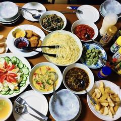 コンソメスープ/そら豆/サラダ/チキンナゲット/和風パスタ/カレーパスタ/... 🍝我が家の夕食🍽 パスタ🍝 パスタソース…