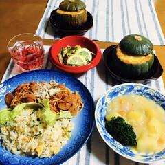 食器取集/好きな食器/ホワイトシチュー/かぼちゃグラタン/チャーハン/ナポリタン/... 🍝我が家の夕食🍴 チャーハン。 ナポリタ…(1枚目)