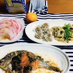我が家の夕食/大根フライ/煮魚/甘酒/セリア/100均/... 🍚我が家の夕食🥢 煮魚。 大根フライ。 …