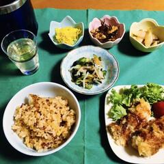 ナスフライ/縄文米/リミアの冬暮らし/フォロー大歓迎 🍚我が家の夕食🥢 縄文米・ホタテ炊き込み…