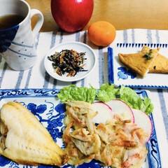 焼き魚/小海老/ひじきの煮物/さつま揚げ/かき揚げ/赤魚/... 🍚我が家の夕食🥢 焼き魚(赤魚) 小海老…