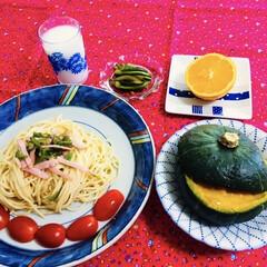 真似っこ料理/我が家の夕食/かぼちゃレシピ/おうちごはん 🍽我が家の夕食🍽 ピーマン・ハム・ガーリ…