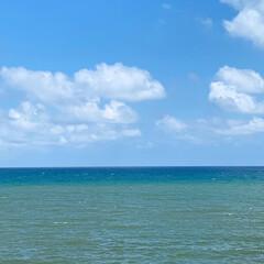 青のグラデーション/日本海/夏の旅行/空の青/海の青/旅行/... 北陸富山、氷見漁港沿いの海岸より日本海を…