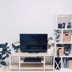 本棚の使い方/本棚の収納/我が家のリビング/観葉植物/フェイクグリーン/緑/...  観葉植物とフェイクグリーンを 多めにし…
