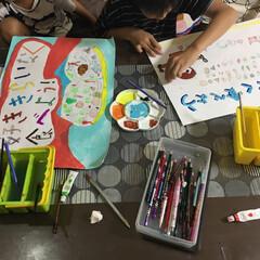 #絵画教室/暮らし 夏休みの宿題も、追い上げ^_^