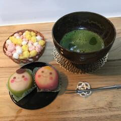 ひな祭り/暮らし/ピンク 雛菓子を買ったので、お抹茶でいただきました