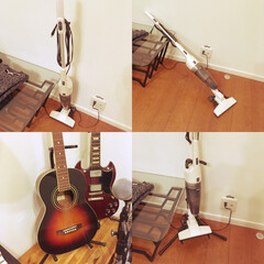 ギタースタンド/ハンディクリーナー コケるハンディクリーナーにギタースタンド…