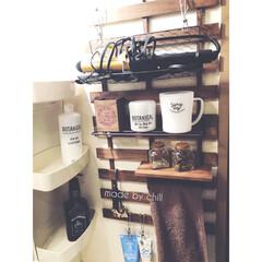 ワイヤーネット/すのこDIY/洗面台収納/収納/雑貨/DIY/... 【すのこDIY】 洗面台横に、便利なすの…