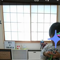 ピスタチオグリーン/ガラスシート/和室/DIY 和室を洋室に近付けたくて、障子をリメイク…