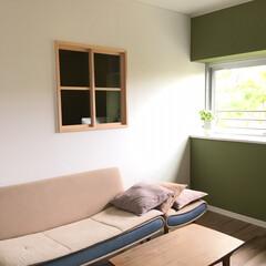 室内窓/使い古しのソファ/リビング/書斎スペース/団地リノベ/リノベーション 段ボールの山がやっと少し片付いた。 リビ…