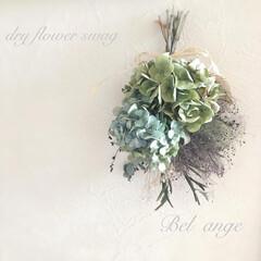 スモークツリースワッグ/紫陽花スワッグ/ドライフラワースワッグ/ドライフラワーのある暮らし/雑貨/DIY/... 大好きな秋色紫陽花とスモークツリーのドラ…(1枚目)