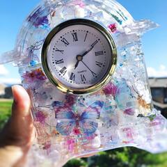 ハーバリウム時計/3dプレミアムオイル/固まるハーバリウム/フォロー大歓迎/LIMIAファンクラブ/LIMIAインテリア部/... ハーバリウムフラワー時計 今度は大好きな…