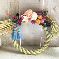正月飾り/しめ縄リース/雑貨/ハンドメイド/暮らし/フォロー大歓迎/... 色々なタイプのしめ縄飾りを作ってみました…(2枚目)