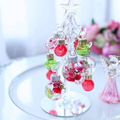 固まるハーバリウム/机/棚/ダイソー/クリスマス/クリスマスツリー/... ダイソーで買ったガラスツリー それに、固…(1枚目)