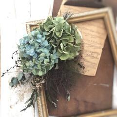 スモークツリースワッグ/紫陽花スワッグ/ドライフラワースワッグ/ドライフラワーのある暮らし/雑貨/DIY/... 大好きな秋色紫陽花とスモークツリーのドラ…(3枚目)