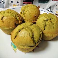 スイーツ/抹茶マフィン/手作りお菓子/手作りケーキ/手作りマフィン/お菓子作り好きな人と繋がりたい おやつに、抹茶マフィン作りました。焼き立…(3枚目)