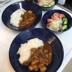 iittala イッタラ Teema ティーマ ディープ プレート 21cm ドッテドブルー   イッタラ(皿)を使ったクチコミ「鶏もも肉を加えて作る無印良品のバターチキ…」