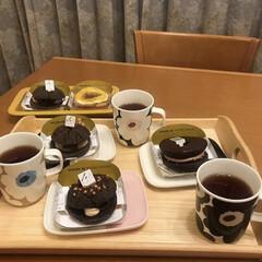 マリメッコ マグカップ コップ 250ml 食器 UNIKKO ウニッコ ベージュ×グレー 63431 890 名入れ可有料 | marimekko(マグカップ)を使ったクチコミ「おうちでミスド🍩コラボドーナツは少しリッ…」