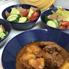ビーフシチュー/おうちごはん/イッタラ/ティーマ/ドッテドブルー/煮込み料理/... お肉を2時間煮込んだビーフシチュー😊お肉…