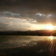 風景/風景写真 今日の夕焼けです。 山の稜線と雲がいいカ…