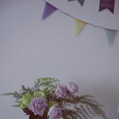 壁面/ガーランド/お花/グリーン/雑貨/100均/... 壁面を楽しく飾る