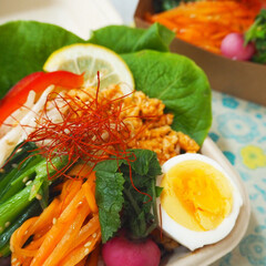 お弁当/彩り/栄養バランス/【手作りお弁当】フォトコンテスト/フォトコンテスト 娘と自分のお弁当つくり(⍢) ビビンバ丼