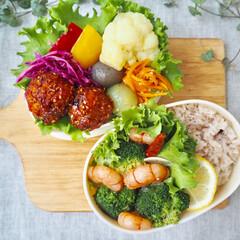 作り置き/彩り/栄養バランス/女子高生のお弁当/お弁当/フード 娘と自分のお弁当づくり(1枚目)