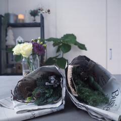 スワッグ/クリスマス/クリスマスツリー/ハンドメイド/雑貨/100均/... 残りの花材でミニスワッグ作り お世話にな…(1枚目)