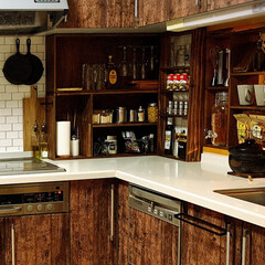 キッチン収納扉/ソックモンキー/壁紙シール/キッチン壁変更/棚/キッチン/... お久しぶりでーす🤗 元気ですよーーーーッ…(6枚目)