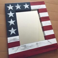 星条旗/フォロー大歓迎/DIY/ハンドメイド/セリア/インテリア/... 1×4でミラー作りました🔨仕上げはターナ…