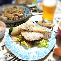ライスバーガー/夕飯/節約/スタミナご飯 今夜は初めてライスバーガー作って見ました…