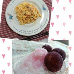 巨峰/カルピス/おやつ/ランチ/おうちご飯/お気に入りの食器/... 生クリームの残りがあったので お昼はカル…
