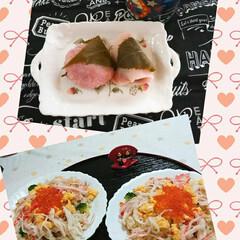 フォロー大歓迎/ちらし寿司/桜餅/ひな祭り/ピンク ほうじ茶ラテと桜餅❣️ こし餡の方が好き…