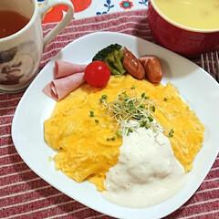 ヘルシー/オムレツ/朝食/家政夫のミタゾノ レシピ ふわとろオムレタス❣️  三連休 家にい…
