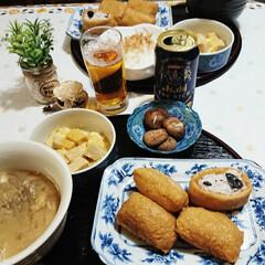 いなり寿司/スヌーピー/フォロー大歓迎/おうちごはん/暮らし/節約 昨日の晩ごはんは  お稲荷さんとたっぷり…
